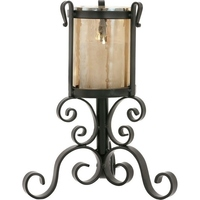 Rustic Iron & Glass Table Top Candle Stand Holder