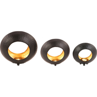 Set of 3 Wrought Iron Ring Shaped Candle Holders