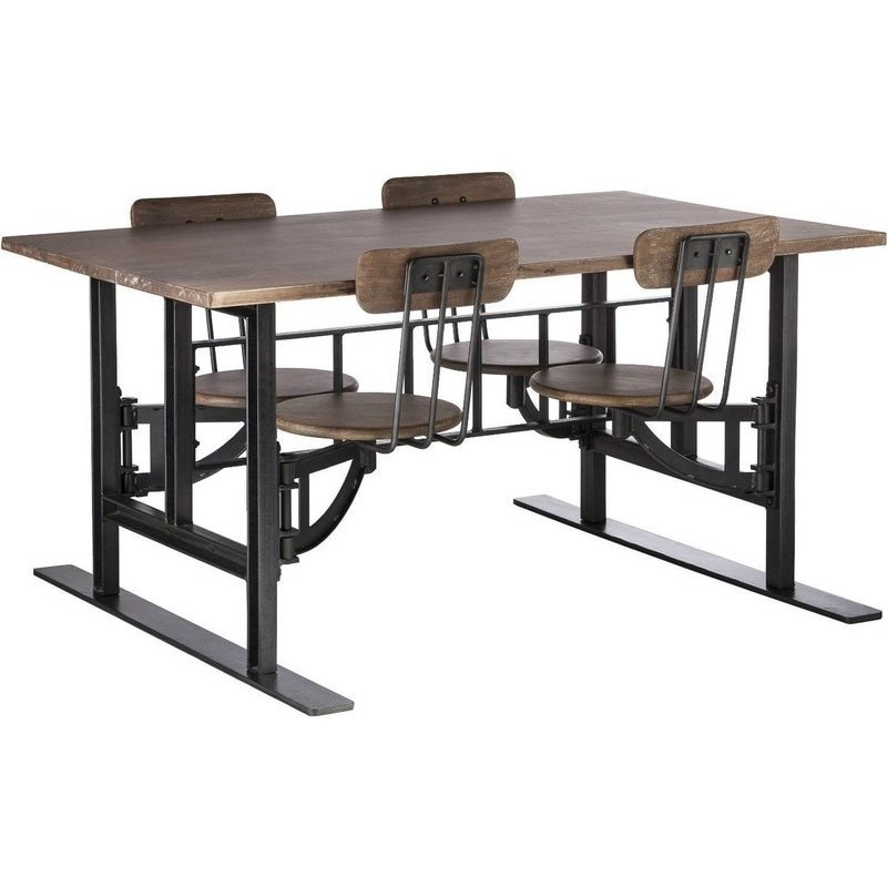 Kids Dining Table: Iron & Wood Kids Dining Table Set W 4 Swivel Chairs