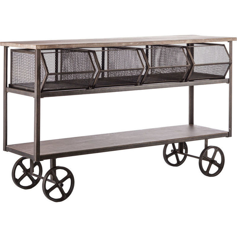 Industrial Kitchen Trolley: 3 Tier Industrial Kitchen Island Trolley W/ Drawers
