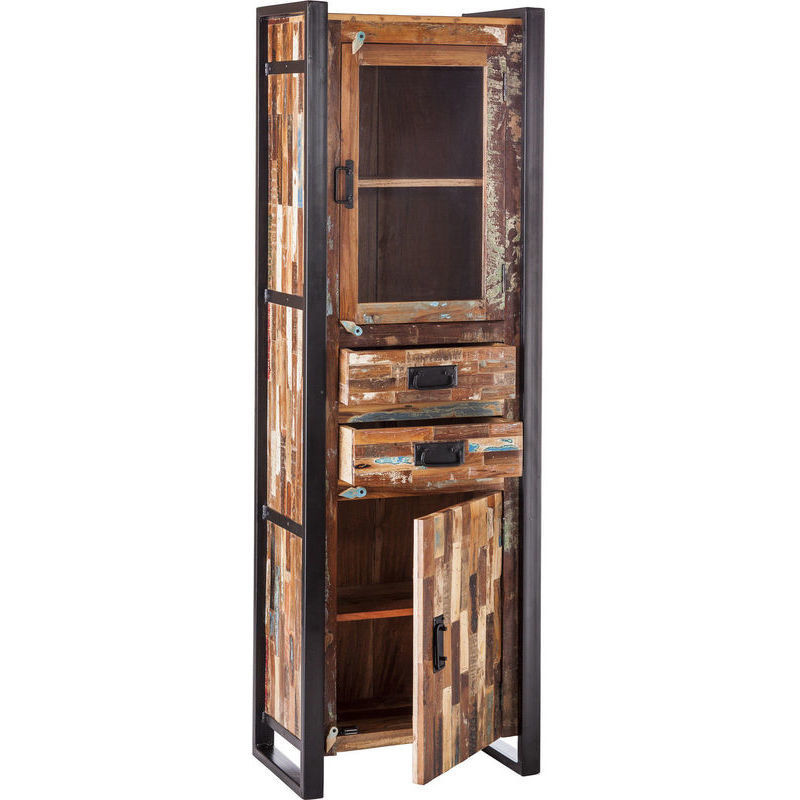 Iron Amp Reclaimed Wood Rustic Display Cabinet 185cm Buy Display Cabinets