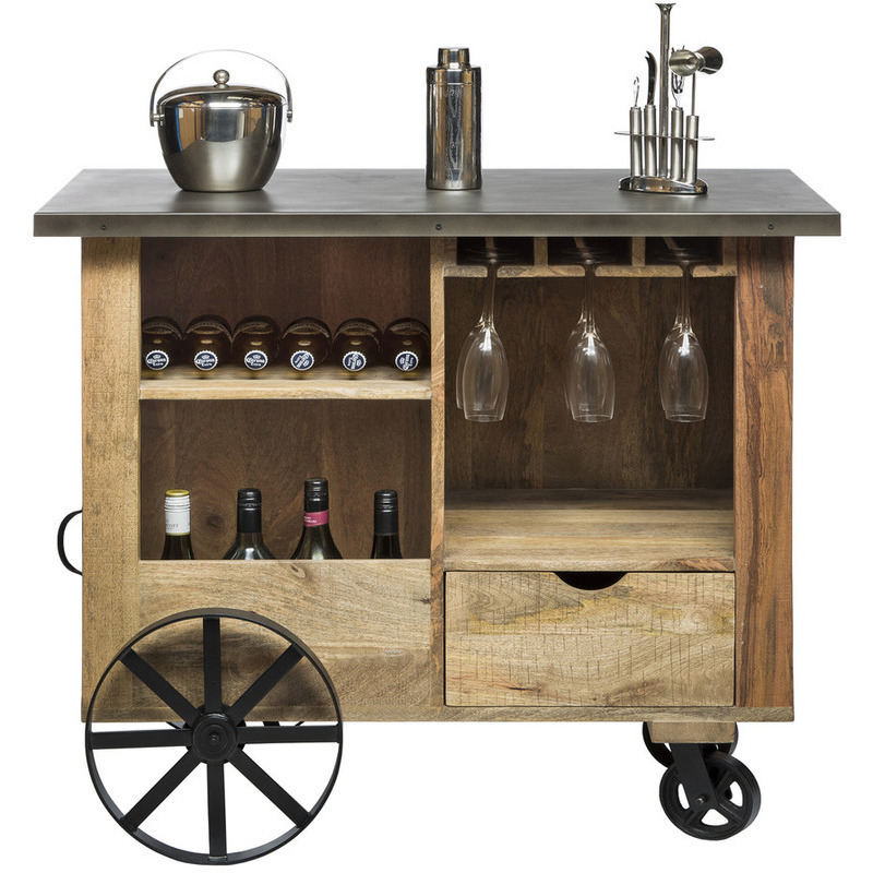 Industrial Kitchen Trolley: 40 Bottle Industrial Wood & Iron Bar Trolley Cart