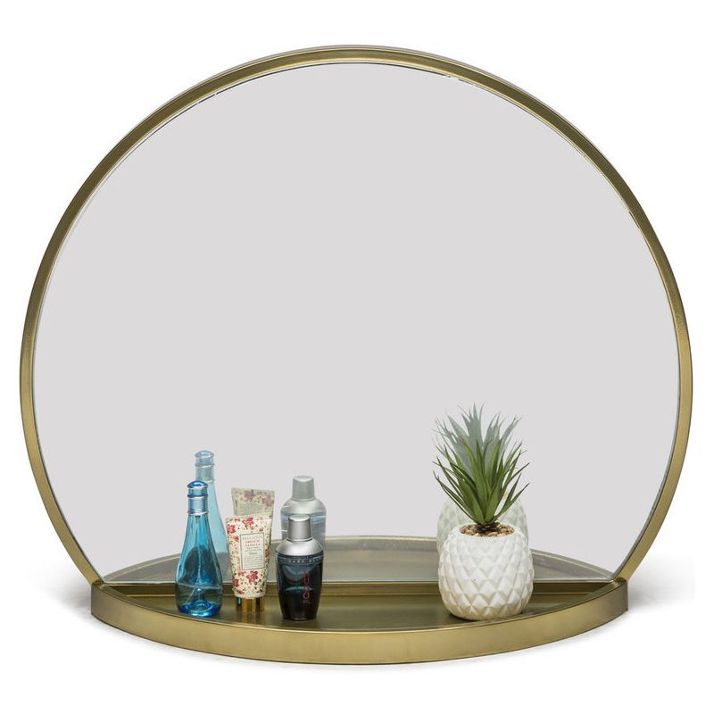 Super Antique Round Table Wall Mirror with Shelf in Brass | Buy Wall Mirrors PW12