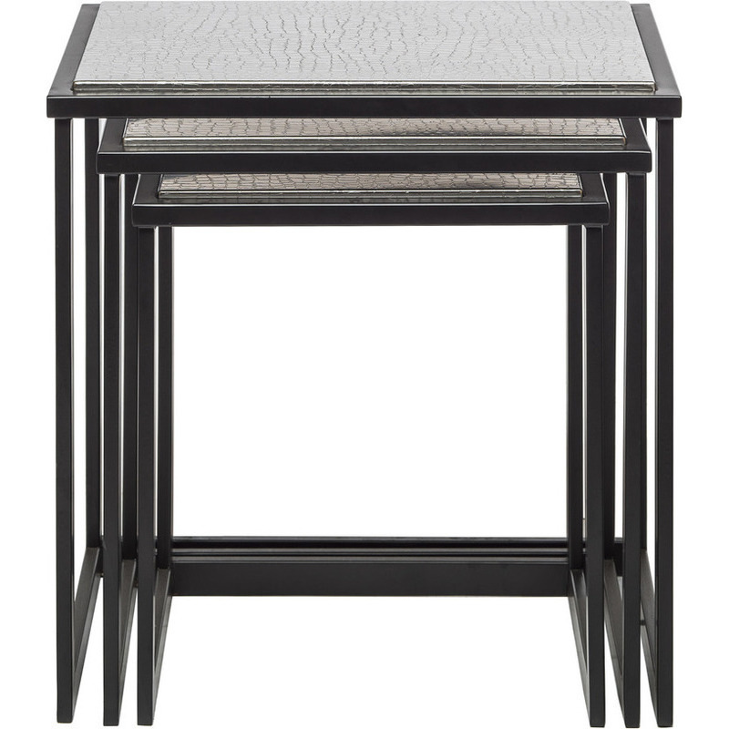 Nested side table set of with stainless steel top buy