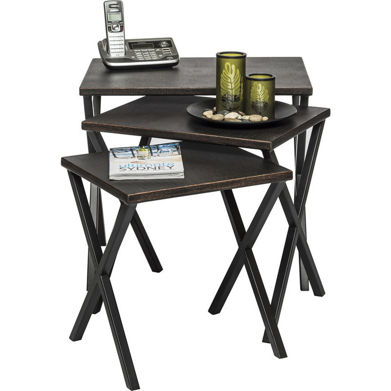 Wrought Iron Coffee Table With Drawers: Rustic Wrought Iron Rock Nested Side Table Set Of 3