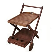 Wooden Outdoor Food Serving Trolley Double Decker