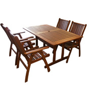 5pc Outdoor Dining Table and Summer Armchairs 1.5m