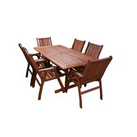 7pc Outdoor Dining Table and Summer Armchairs 1.8m