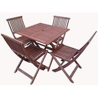 5pc Foldable Outdoor Dining Table & Chair Set 80cm
