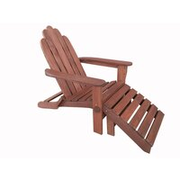 Outdoor Shorea Wood Adirondack Chair w/ Footstool