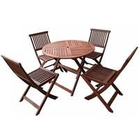 5pc Foldable Outdoor Dining Table & Chair Set 90cm