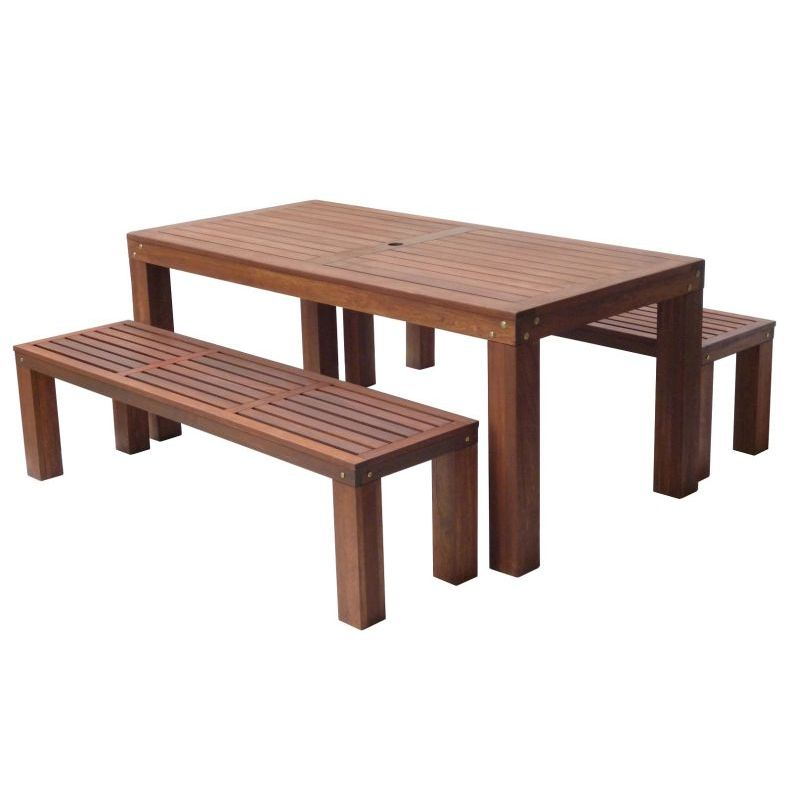 Outdoor wooden dining table and benches set 180cm buy for Wood dining table set