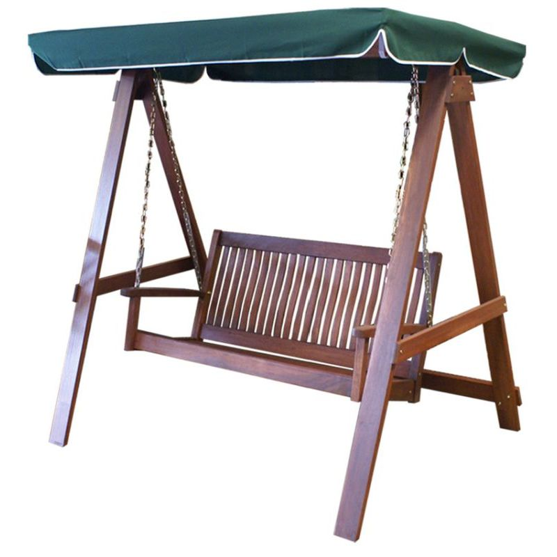 Outdoor Swing Bench: 2 Seater Outdoor Swing Bench With Green Canopy