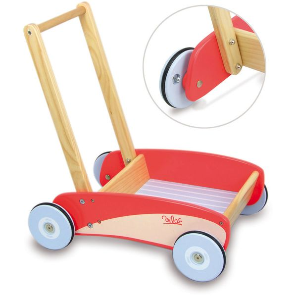 Vilac Kid S Toy Push And Pull Trolley Cart In Red Buy