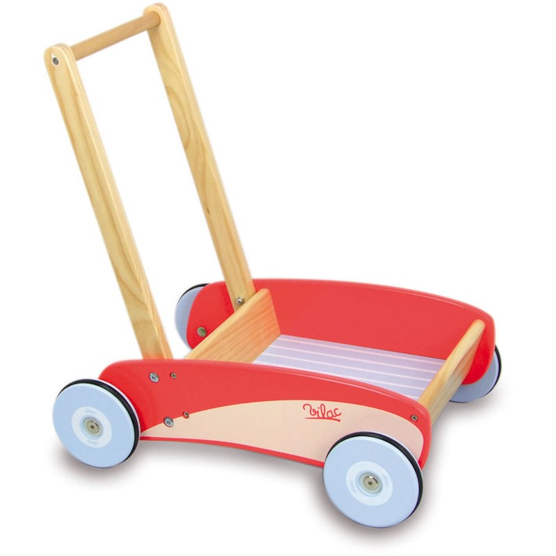 Vilac Kid's Toy Push and Pull Trolley Cart in Red