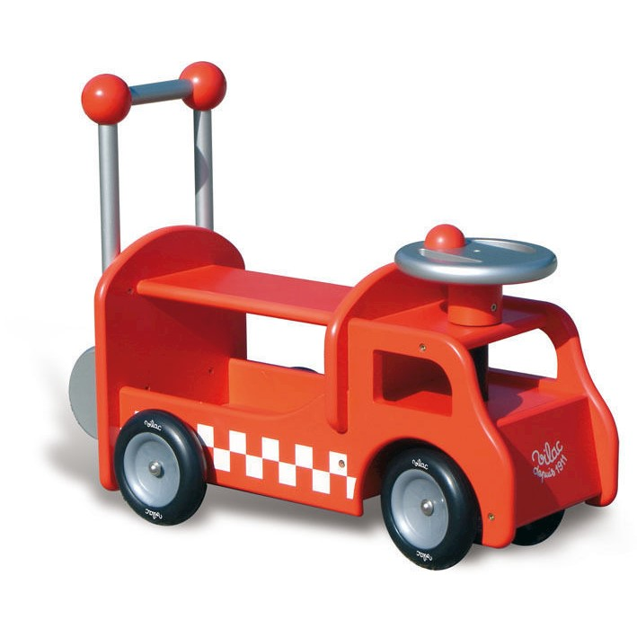 Vilac Kid's Wooden Push Car Ride On Fire Truck
