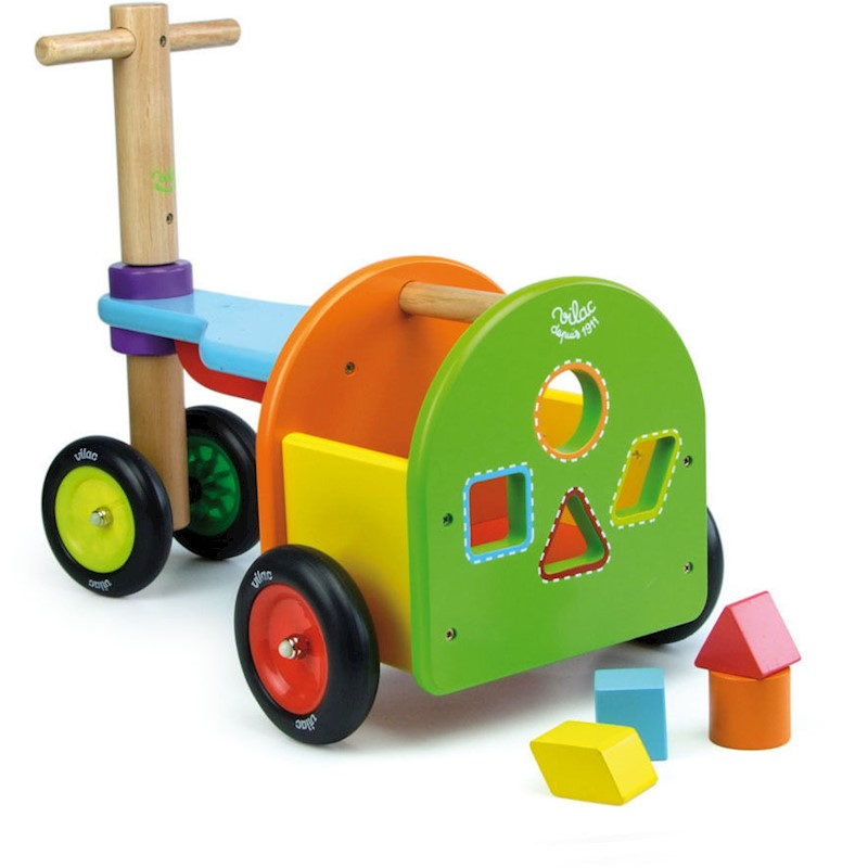 Vilac Kids Wooden Push Car Ride On Rainbow Tricycle
