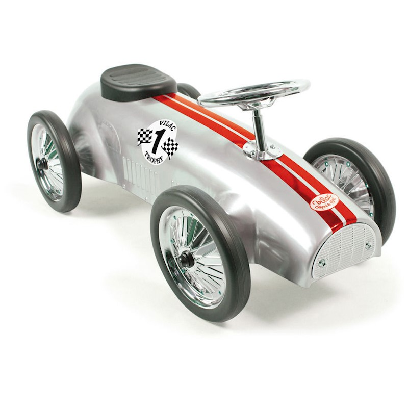 Vilac Kid's Push Ride On Classic Race Car in Silver