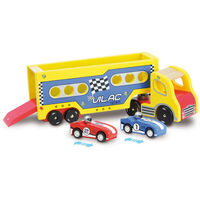 Vilac Kid's Wooden Lorry with 2 Friction Motor Cars
