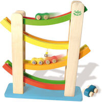 Vilac Kid's Wooden Car Ramp Tower Toy with 4 Cars