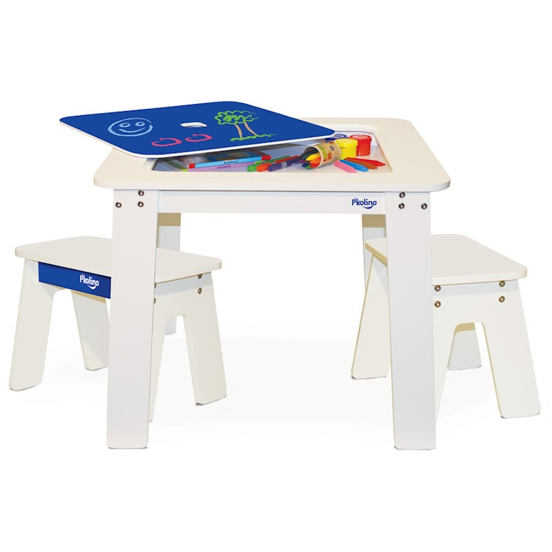 P'kolino Kid's Chalkboard Table & Benches in Cobalt