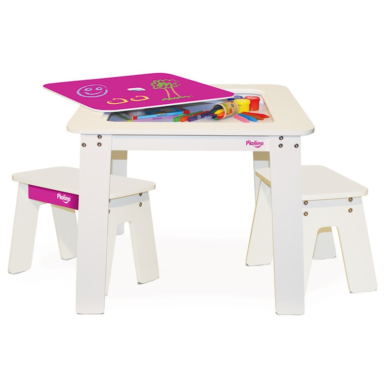 P'kolino Kid's Chalkboard Table & Benches Fuchsia