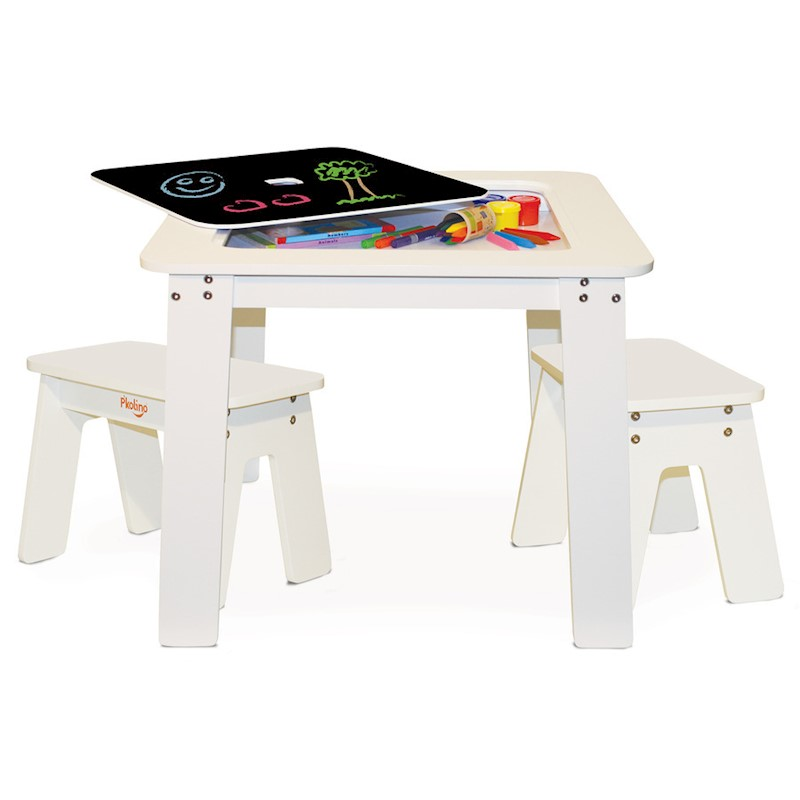 P'kolino Kid's Chalkboard Table & Benches in White