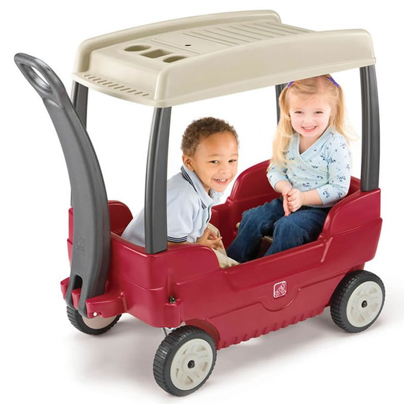 kids ride on car push along canopy wagon for two