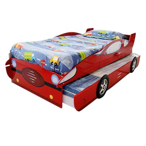 Single Novelty Race Car Kids Bed w/ Trundle in Red | Buy Novelty