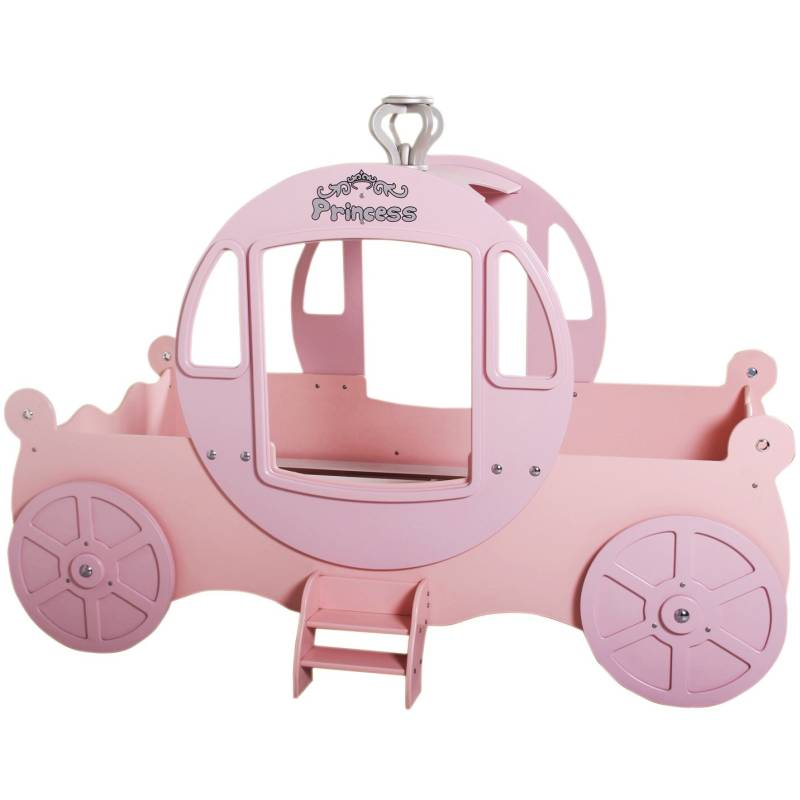 Kids Single MDF Princess Carriage Bed In Pink