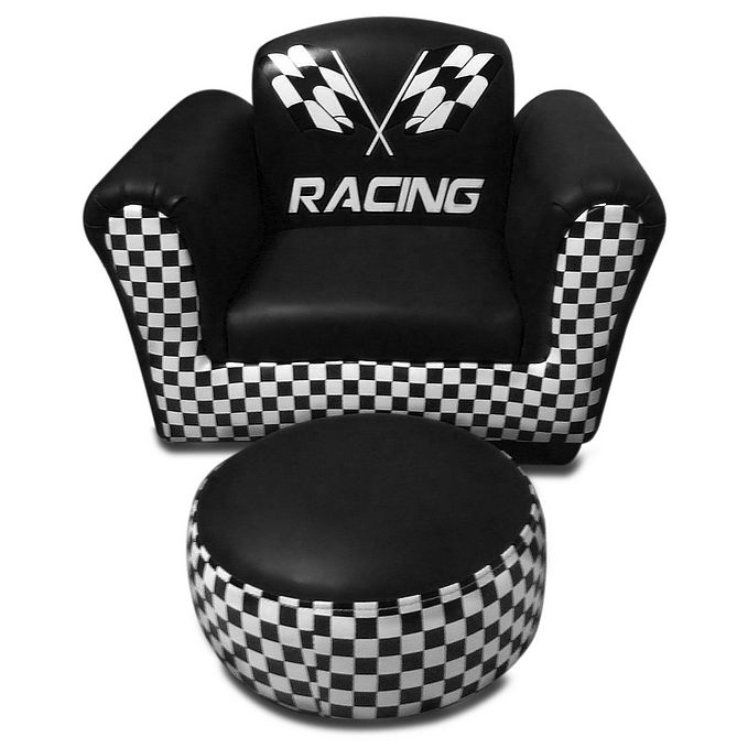 F1 Racing Kid S Couch Chair With Ottoman In Black Buy