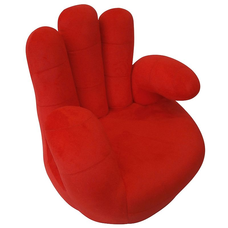 Large Plush Hand Shaped Kid S Chair In Red Buy Kids Sofas