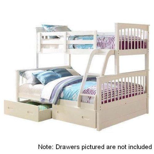 Brighton Single Double Wood Kids Bunk Bed White