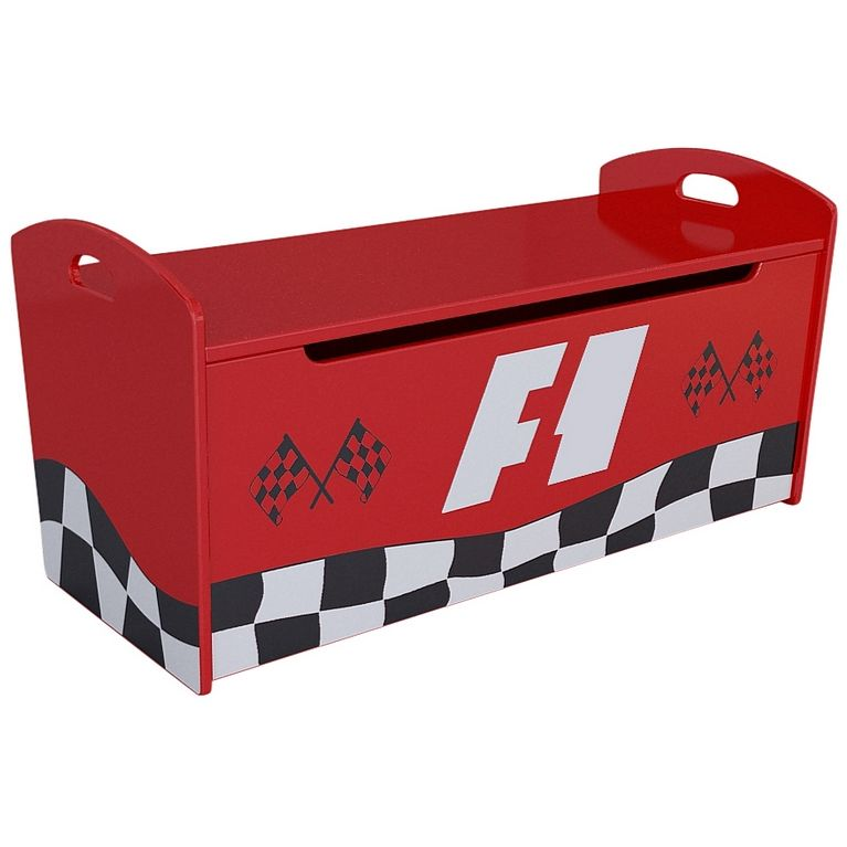 F1 Racing Wooden Kids Storage Toy Box Chest In Red Buy