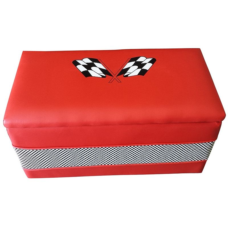 F1 Racing Padded Kids Storage Toy Box Chest In Red