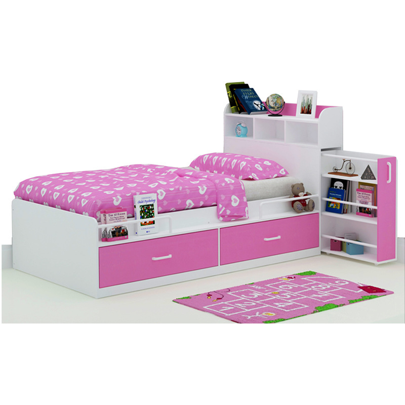 Kids Single Bed W/ Storage Headboard U0026 Drawers Pink