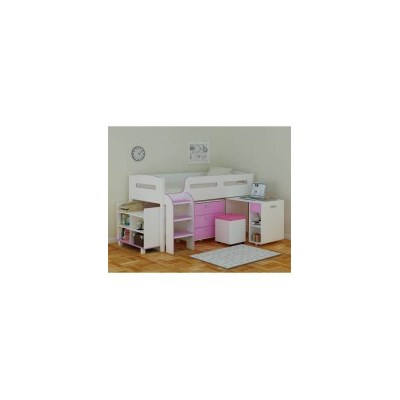 Coconut Ice Kids Single Loft Bed with Desk in Pink