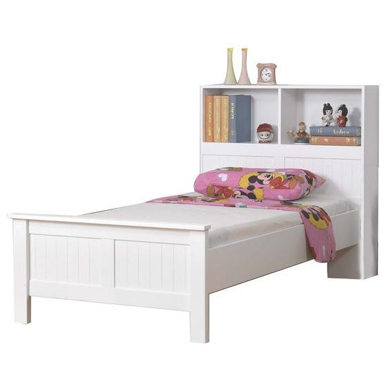 Angel Kids Single Bed Frame With Bookcase In White