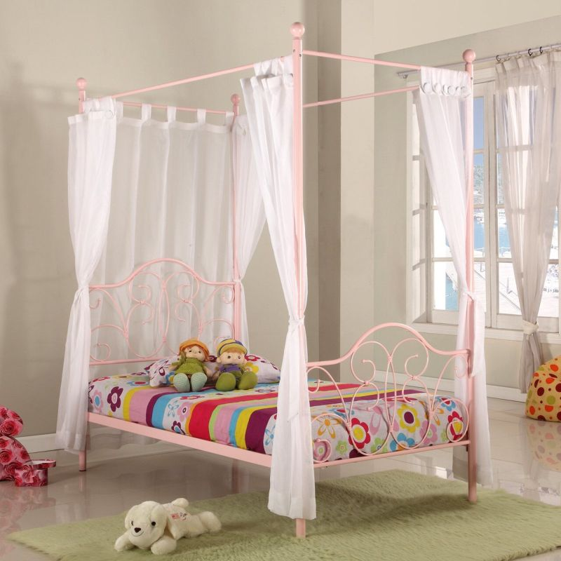 Fantasia Kid S Single Four Poster Bed Frame In Pink Buy