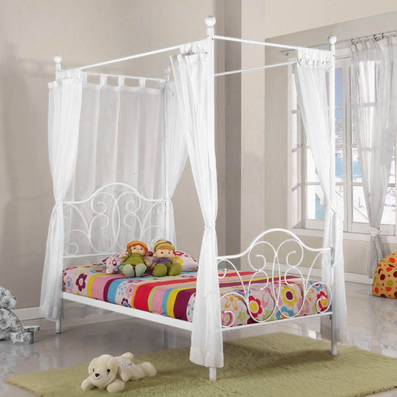 Fantasia Kids Four Poster Single Bed Frame In White Buy