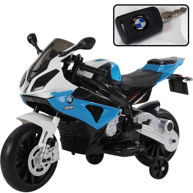 bmw kid's ride on electric motorbike in blue 12v   buy electric