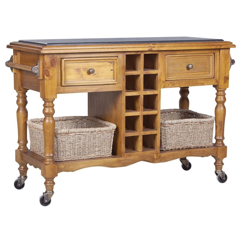 Hampton Granite Top Kitchen Island Trolley In Honey Buy
