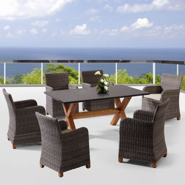 Blue Stone Outdoor 6 Seat Dining Set In Brown