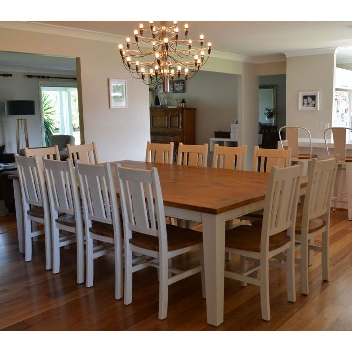12 Rustic Dining Room Ideas: Leura 12 Seat Rustic Wooden Dining Set In White