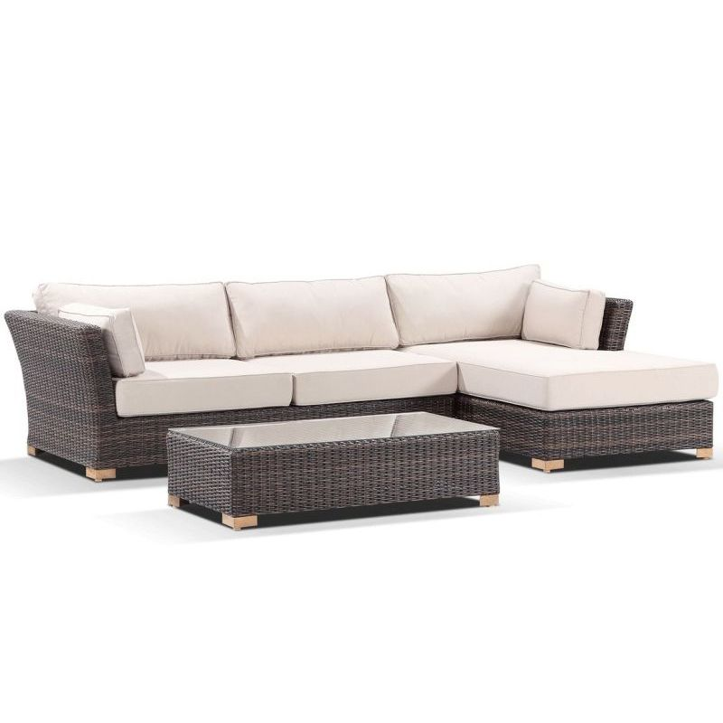 Sumatra outdoor lounge set w right chaise in brown buy for Brown chaise lounge outdoor