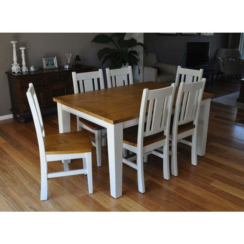 Leura 6 Seat Rustic Wooden Dining Set In White Buy 7