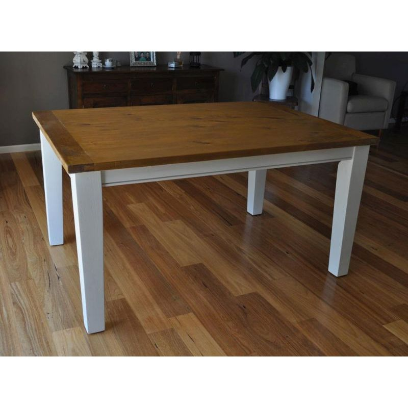 Buy Dining Tables: Leura Wooden Dining Table In Rustic White 1.5m