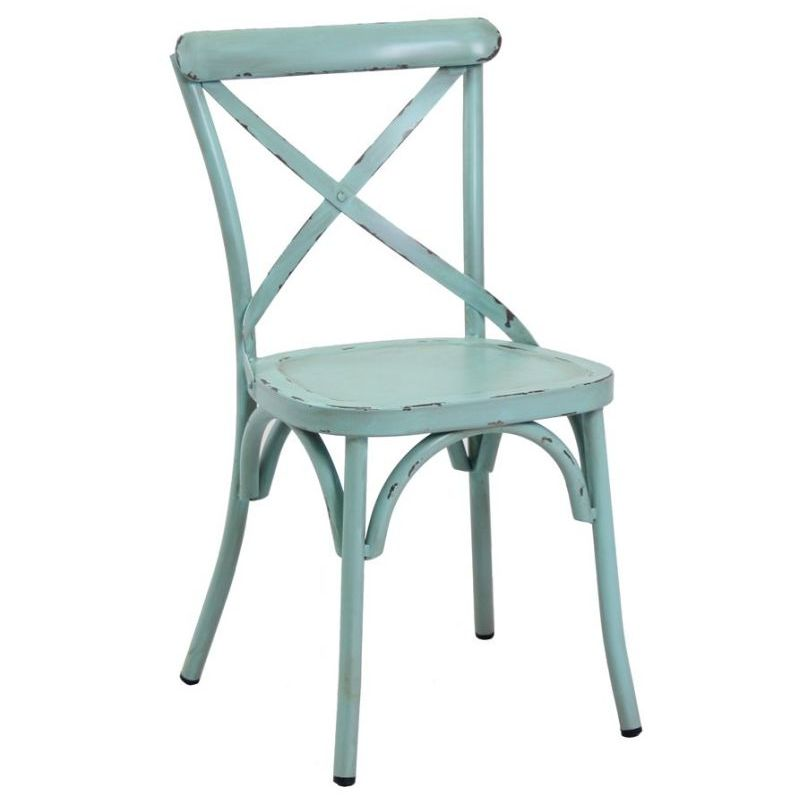 h m s Remaining - French Cross Back Steel Dining Chair Antique Blue Buy Dining Chairs
