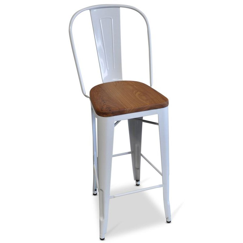 High Back Replica Tolix Wood Seat Bar Stool White  sc 1 st  MyDeal & High Back Replica Tolix Wood Seat Bar Stool White | Buy Reviews islam-shia.org