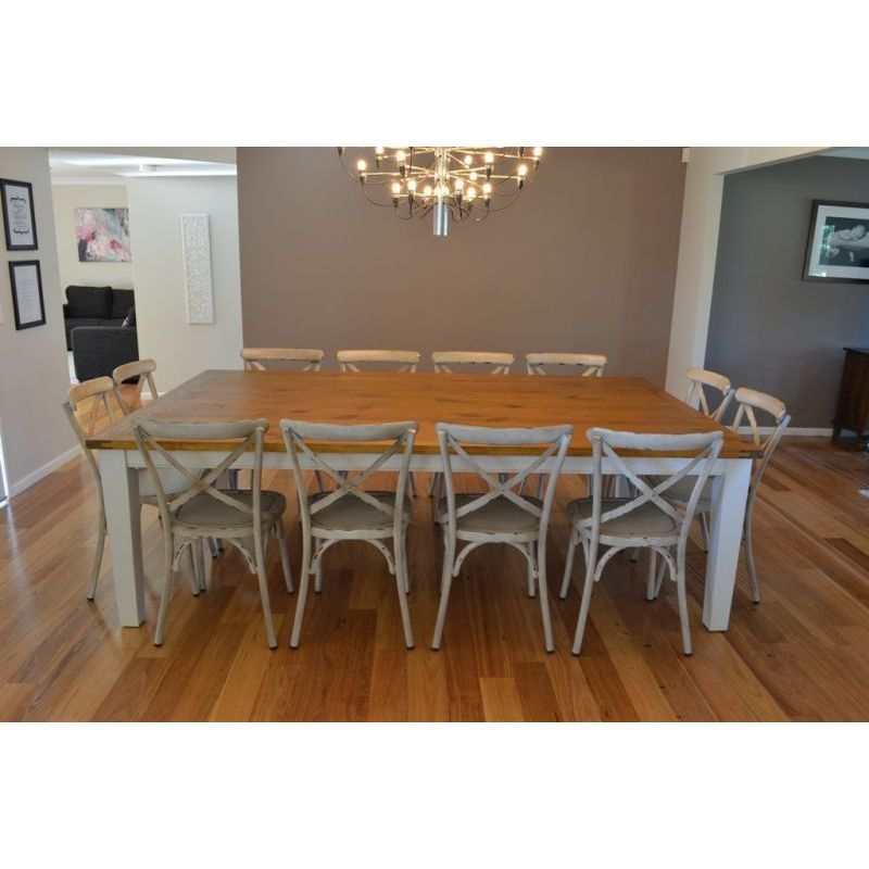 Dining Room Tables Seat 12: Leura 12 Seat Dining Set W/ Cross Back Chairs White
